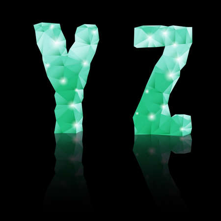 Shiny emerald green polygonal font with reflection on black background. Crystal style Y and Z letters Vector