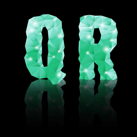 Shiny emerald green polygonal font with reflection on black background. Crystal style Q and R letters Vector
