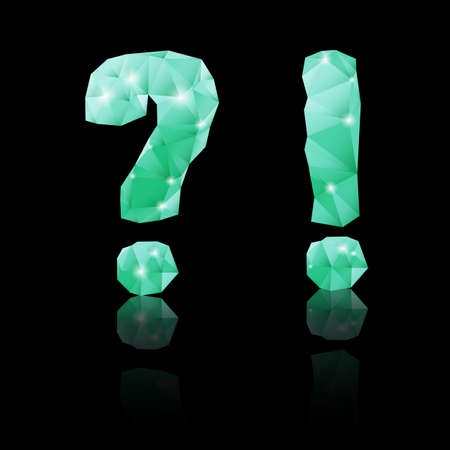 exclamatory: Shiny emerald green polygonal font with reflection on black background. Crystal style question and exclamation marks