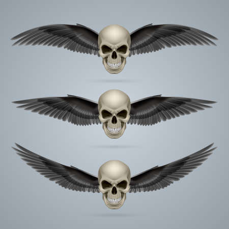 death metal: Three evil looking ivory coloured two-winged skulls.