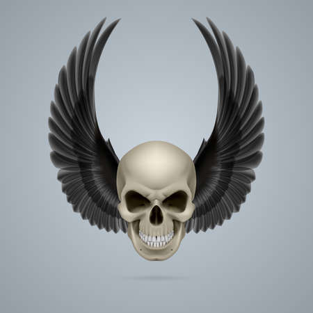 Evil looking ivory skull with two crow wings up. Vector