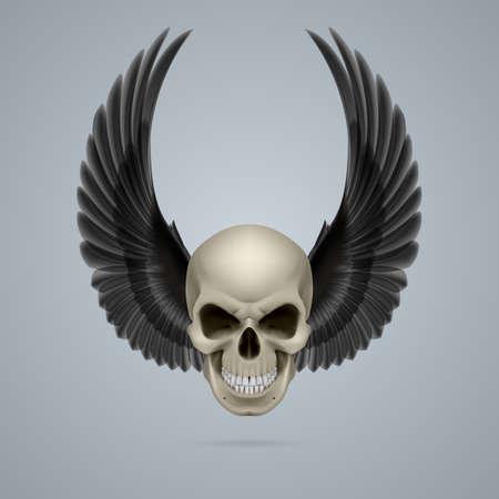 Slecht uitziende ivoren schedel met twee kraai vleugels omhoog.