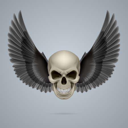 Evil looking ivory coloured skull with two wings. Vector