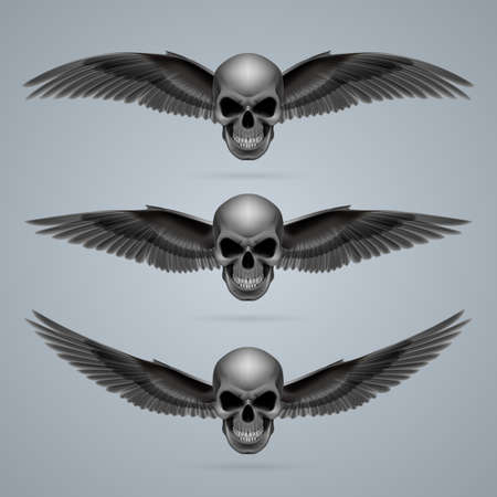 Three evil looking skulls with two wings each. Vector