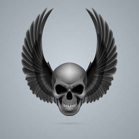 Evil looking skull with two black wings up. Vector