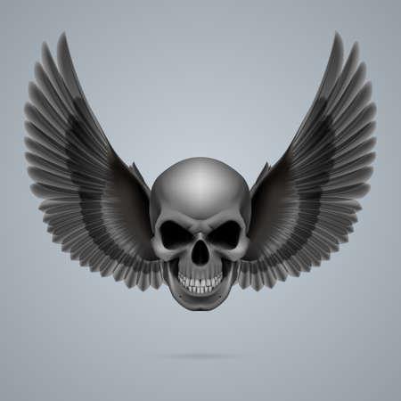 morte: Crânio de vista mau com duas asas de galinha.
