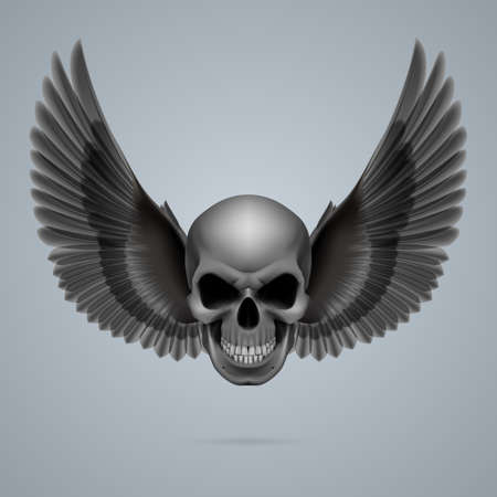 Evil looking skull with two crow wings. Vector