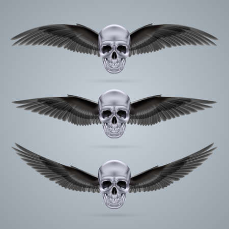 Three metal chrome skulls with two crow wings each. Vector