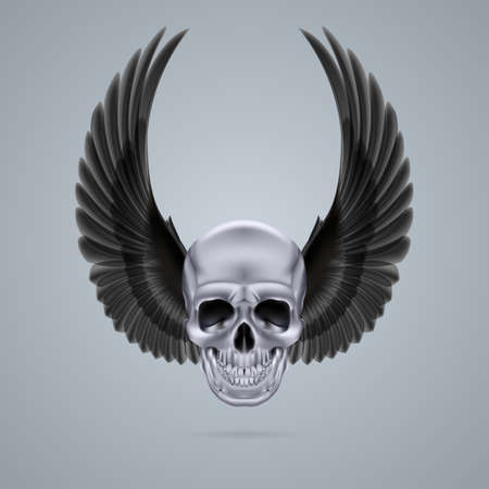 Human skull with two raised crow wings. Vector