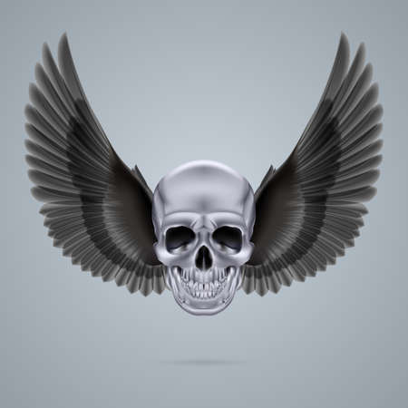 Metal chrome skull with two black crow wings. Vector