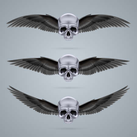 Three metal chrome skulls with two crow wings and no jaw bone each. Vector