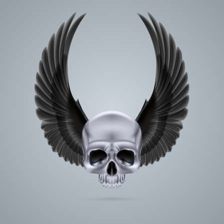 Metal chrome skull with two raised crow wings and no jaw bone. Vector