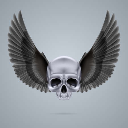 Metal chrome skull with two black crow wings and no jaw bone. Vector