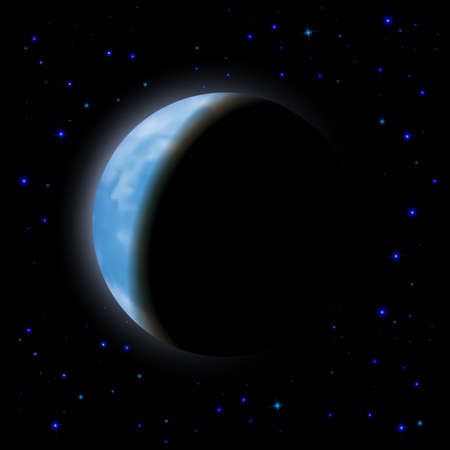 night time: Eclipse of the planet on the black background, blue shining stars.