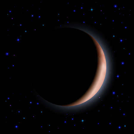 Eclipse of the planet on the black background. Blue shining stars. Vector