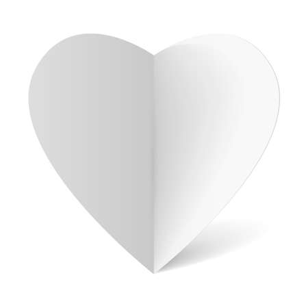 White folded paper heart for your design Vector