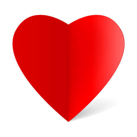 Red folded paper heart for your design Vector