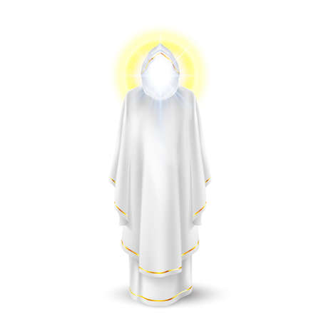 White angel, god, archangel with nimbus under head Vector