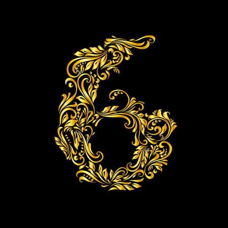 richly decorated: Richly decorated six digit on black background. Illustration