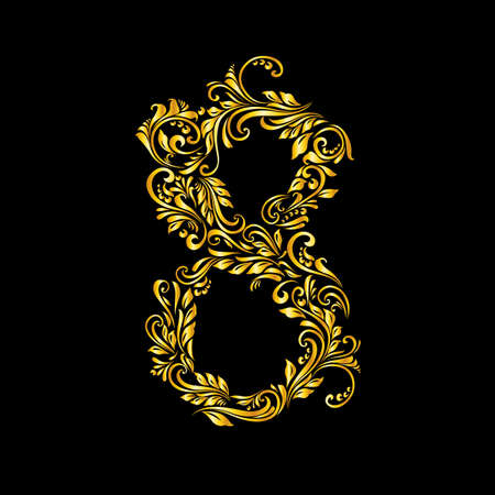 richly decorated: Richly decorated eight digit on black background. Illustration