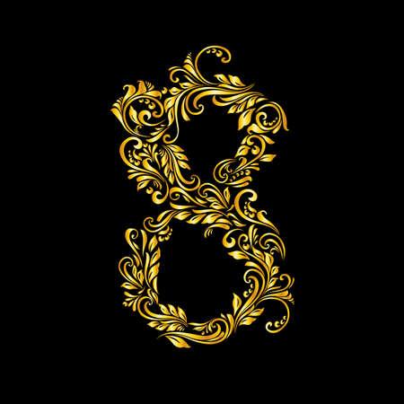 richly: Richly decorated eight digit on black background. Illustration