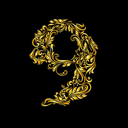 richly: Richly decorated nine digit on black background. Illustration