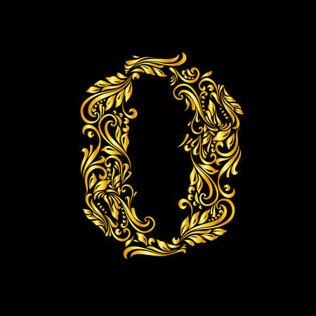 null: Richly decorated zero digit on black background. Illustration