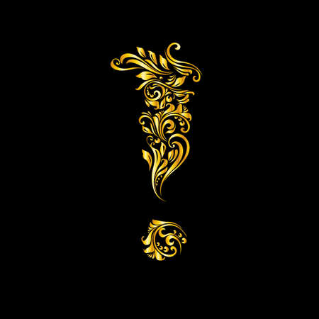 richly decorated: Richly decorated golden mark of exclamation with twirls.