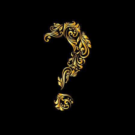 richly decorated: Richly decorated golden question mark with twirls.