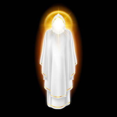 godlike: Gods guardian angel in white dress with golden radiance.  Religious concept
