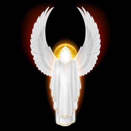 Gods Schutzengel im weißen Kleid mit goldenen Strahlen auf schwarzem Hintergrund. Erzengel Bild. Religiöse Konzept