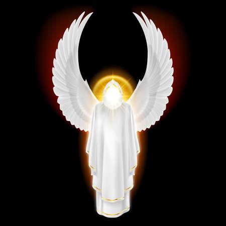 Gods guardian angel in white dress with golden radiance on black background. Archangels image. Religious concept