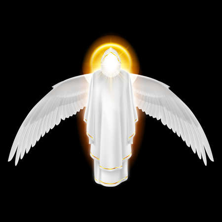Gods guardian angel in white dress with golden radiance and wings down on black background. Archangels image. Religious concept Vector