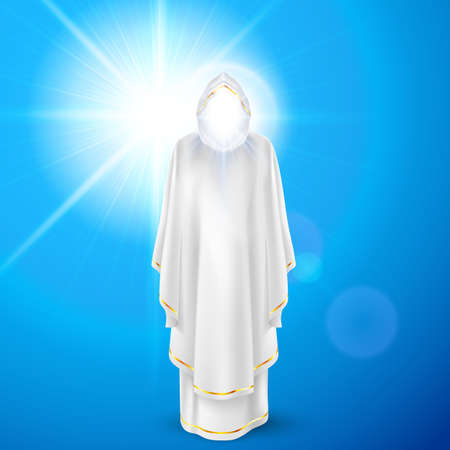 archangel: Gods guardian angel in white dress against sky background and bright sun flare. Religious concept