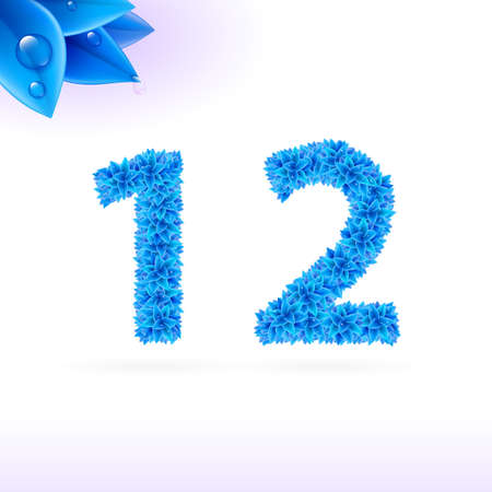 sans serif: Sans serif font with blue leaf decoration on white background. 1 and 2 numerals Illustration