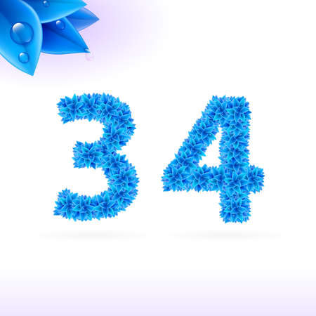 sans: Sans serif font with blue leaf decoration on white background. 3 and 4 numerals