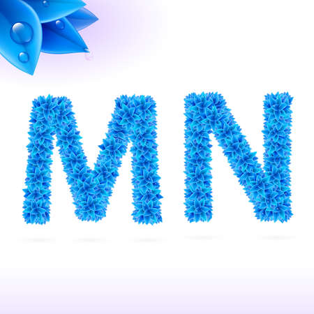 sans serif: Sans serif font with blue leaf decoration on white background. M and N letters