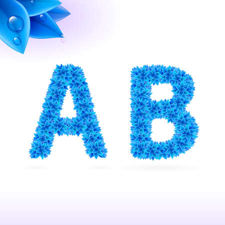 write a letter: Sans serif font with blue leaf decoration on white background. A and B letters Illustration