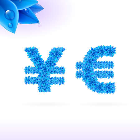 sans serif: Sans serif font with blue leaf decoration on white background. Yen and euro signs