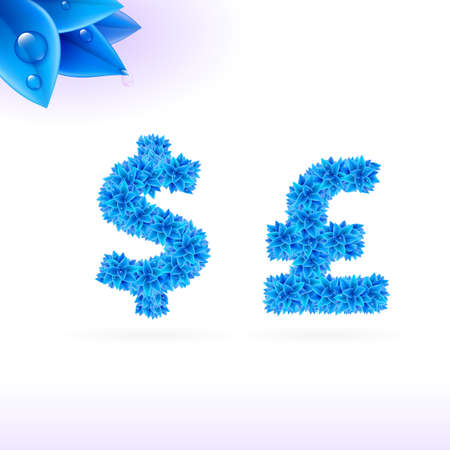 sans serif: Sans serif font with blue leaf decoration on white background. Dollar and pound sterling signs