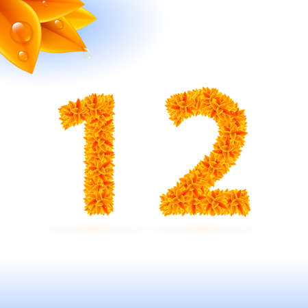 sans serif: Sans serif font with autumn leaf decoration on white background. 1 and 2 numerals