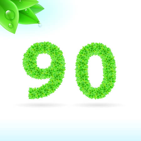 sans serif: Sans serif font with green leaf decoration on white background. 9 and 0 numerals