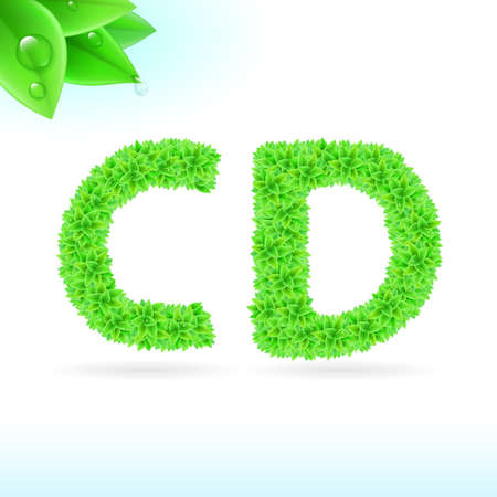 c design: Sans serif font with green leaf decoration on white background. C and D letters Illustration