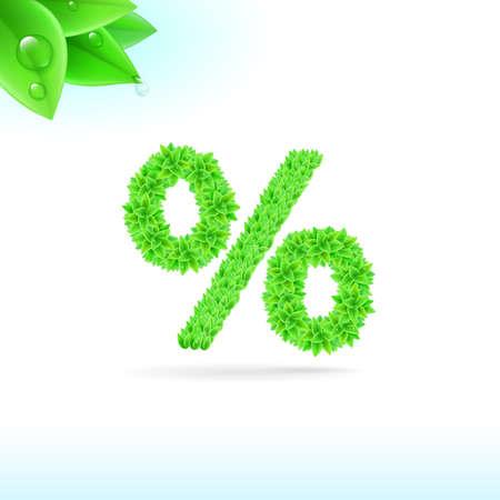 sans serif: Sans serif font with green leaf decoration on white background. Per cent sign