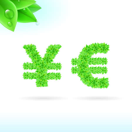 serif: Sans serif font with green leaf decoration on white background. Yen and euro signs