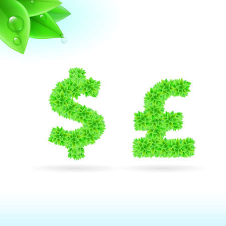 sans serif: Sans serif font with green leaf decoration on white background. Dollar and pound sterling signs
