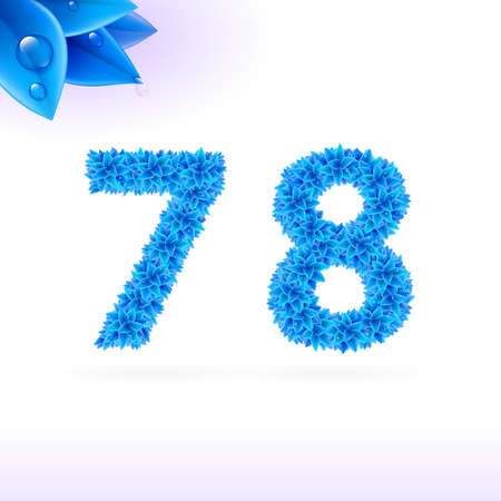 number eight: Sans serif font with blue leaf decoration on white background. 7 and 8 numerals