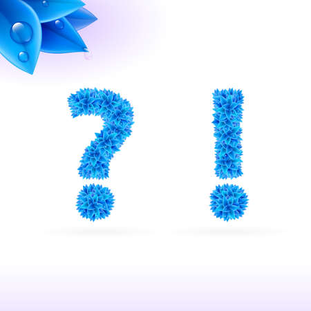 exclamatory: Sans serif font with blue leaf decoration on white background. Question and exclamation marks Illustration