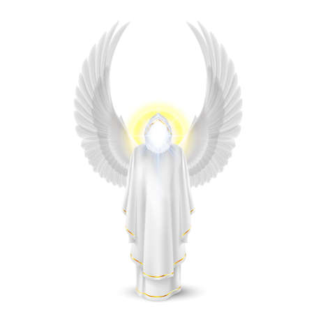 Gods guardian angel in white. Archangels image. Religious concept Vector