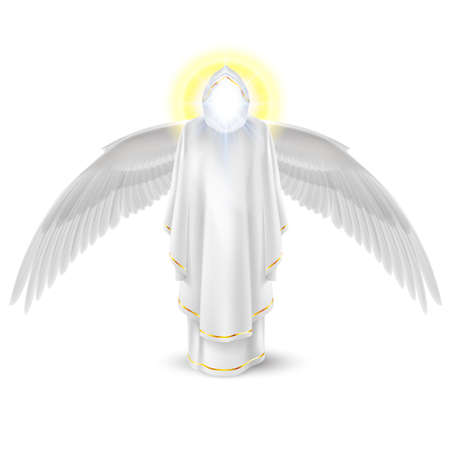 Gods guardian angel in white with wings down. Archangels image. Religious concept Vector